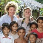 Sarah and Julia with Cambodian Kids