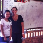Hanna on rt with local school teacher in Siem Reap