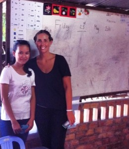 Hanna on rt with local school teacher in Siem Reap