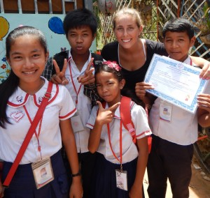 Hanna with her grade 5 students in Siem Reap