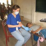 on dental outreach in converted classroom to dentist makeshift clinic